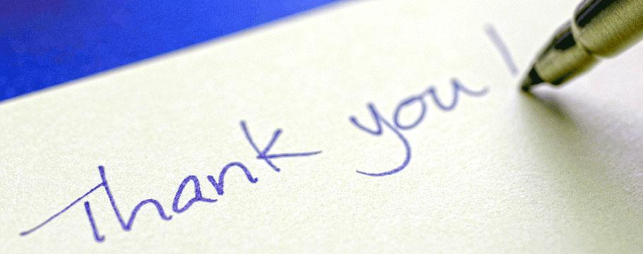 black diamond landscapes arlington massachusetts testimonials thank you written on paper with blue ink fountain pen